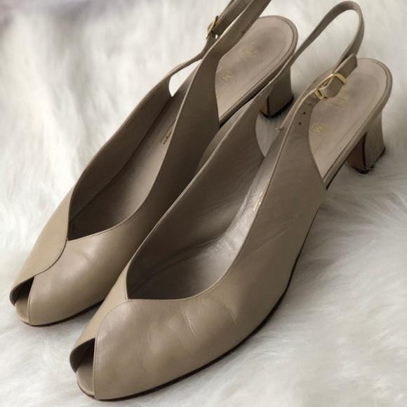Vintage Peeptoe Slingback Kitten Heel